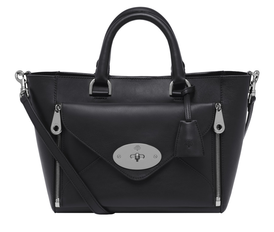 Small Willow Tote in Black Nickel Silky Classic Calf